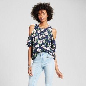 J by J.O.A. navy floral cold shoulder top blouse